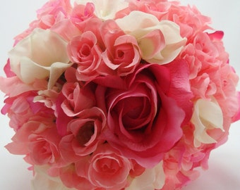 Wedding Bouquet Pink Roses Real Touch, Miniature roses and White Hydrangea, Artificial Flowers with silver ribbon, FFT original Design