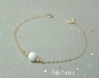 RESERVED-Bracelet 14 k gold-filled Pearl clam BrilleSurMoi
