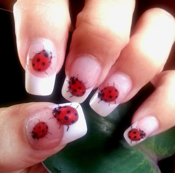 LADYBUG Nail Art (LB1) 49 Nail Art WaterSlide Transfers Decal Stickers.  Transparent colors Cute Nail art for Spring from NorthofSalem on Etsy Studio - LADYBUG Nail Art (LB1) 49 Nail Art WaterSlide Transfers Decal