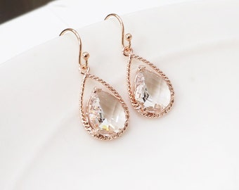 April Birthstone Earring, Clear crystal drop earring, Rose gold earrings, Maid of honor gift, Wedding rose gold earrings, bridesmaid gift