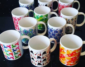 Mug illustrated- Cups with different patterns- illustrated and colorful tea cup