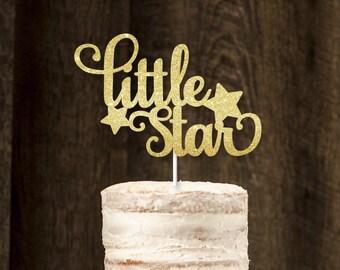 Little star cake topper, glitter cake topper, twinkle twinkle little star
