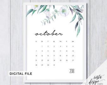 october calendar 2018 printable