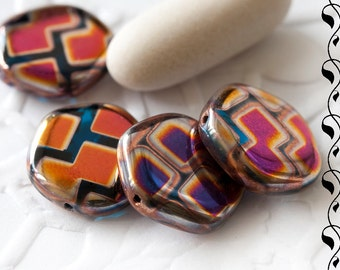6 Czech Glass Coins 15 mm Luster Multicolored
