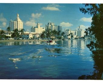Miami Beach Hotel Row, Indian Creek 1950s Florida Jumbo Postcard US Color Print 20776