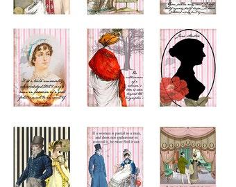 Fabric Panel; Jane Austen /Regency /Set of 9 Panels/ ATC/ Altered Art/ Cards Craft/ Quilting/ 100% Cotton/ Applique