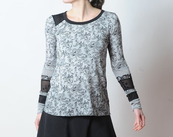 Lange schwarze und weiße Spitze mit Patchwork-Ärmel, Spaß-Jersey-Top, Frauen Kleidung, MALAM, Größe UK 8