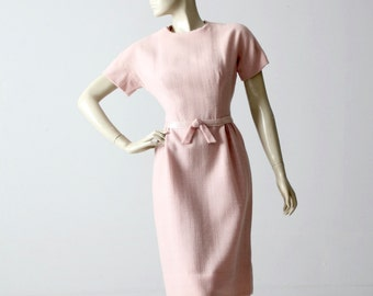 1950s pink linen wiggle dress, fitted vintage dress