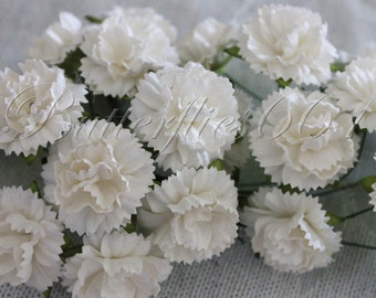 20 Handmade Mulberry Paper Flowers of  White  Carnations CA-1