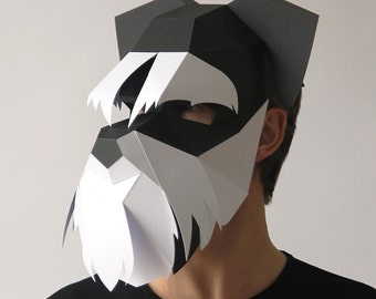 DOG Mask - Build your own Schnauzer 3D dog mask from card, using this PDF mask template