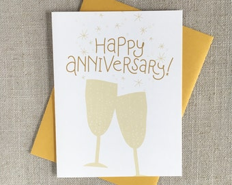 Champagne Toast Happy Anniversary Card / Hand Lettered Card / Modern Anniversary Card / Anniversary Card for Wife / Card for Couple