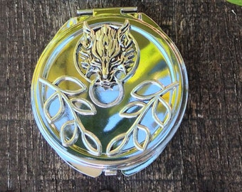 Into The Woods Solid Perfume by Strange Karma Perfume In A Beautiful Reusable Wolf Embellished Compact with Scents of Cedar, Fir and Citrus