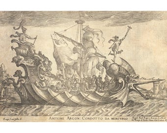 Dragon ship art print, Large ship wall art, Antique ship poster, Sea voyage, Fantasy art print, Childrens art, Nautical art large print