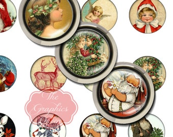 Vintage Sweet Christmas Tags Card Digital Collage 30mm Round Circles Printable Images Digital Collage Sheet Jewelry Making