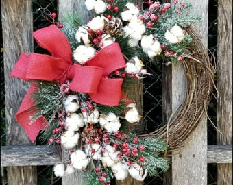 Cotton Christmas Wreath, Primitive Christmas Wreath, Grapevine Wreath, Holiday Wreath, Winter Wreath, Front Door Wreath, Rustic Christmas