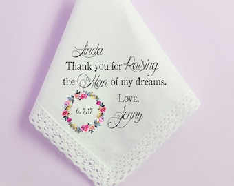 Mother of the Groom Handkerchief, Wedding Handkerchief, Parents Thank you gift, Printed Hankie, Custom Handkerchief, Hankie Gift- 6