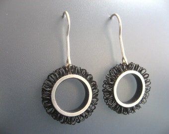 Earrings sterling silver with plastic, diameter of the loop circles 21mm, Length 42mm, color black, design loops in circles