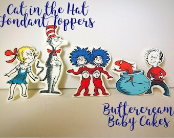 Cat in the Hat Fondant Cake Toppers