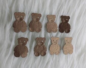 50 Metallic brown teddy bear baby shower party confetti