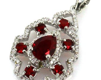 Sterling Silver Petite Blood Ruby Gemstone & AAA CZ Accent Pendant