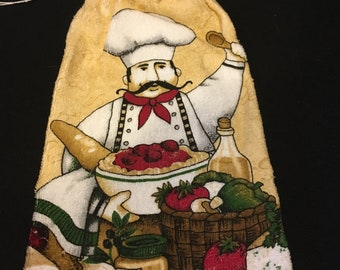 Happy Chef Single Sided Kitchen Hand Towel Rust 1