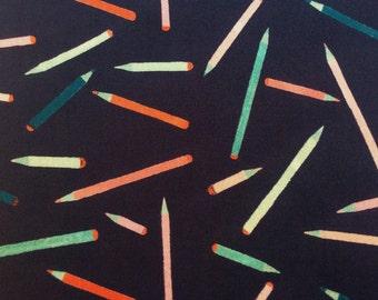 "2016: Sketch A Liberty Fabric scrap tana lawn 10"" x 10"" square (25,4 cm x 25,4 cm) dark blue pink red green The Weavers Mill"