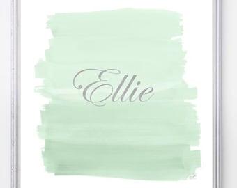 Mint Print, Mint Nursery Art, Mint Green Print, Mint and Gold Nursery Decor, Mint Girls Room, Mint Wall Art, Mint Wall Decor, Pale Green Art