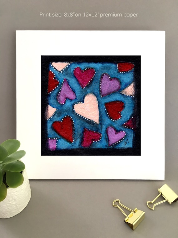 Hearts wall art, 1st anniversary art, charming artwork, art for my house, fun anniversary gift FREE Shipping