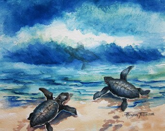 Baby Sea Turtle Watercolor print 12 x 12 inches by watercolorsNmore turtles sea life