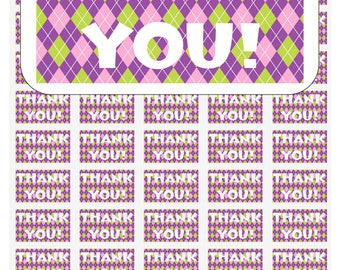 """50 Argyle Pink, Green, Purple Thank You Envelope Seals / Labels / Stickers, 1"""" by 1.5"""""""