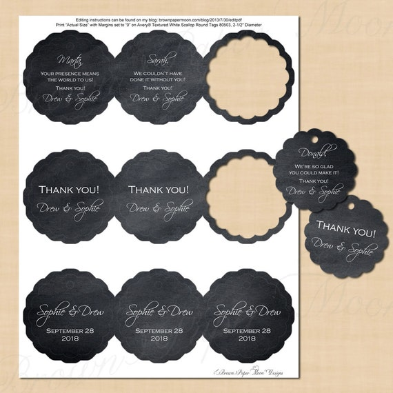 Chalkboard Scallop Round Tags 25 Text Editable Printable