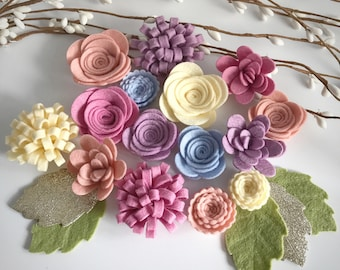 Chalky felt flower mix