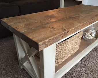 Bon Custom Farmhouse Coffee Table   Rustic Coffee Table   Farmhouse Style  Furniture   Living Room Table