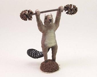 Spun Cotton Vintage Style Woodland Circus Strongman Beaver Figure (MADE TO ORDER)