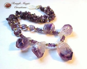 Purple Gemstone Necklace Amethyst February Birthstone Birthday Gift for Wife, Rough Semi Precious Stone, Gold Filled Jewelry for Woman  N190