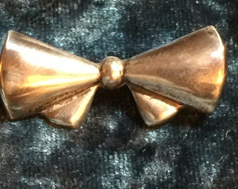 Vintage Hollow Form .925 Sterling Silver Bow Brooch