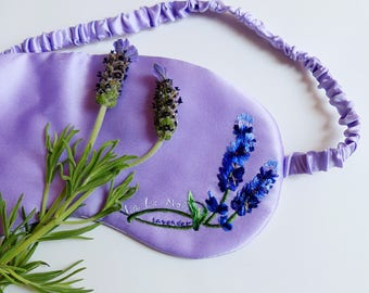 Handmade Silk Eye Mask - 100% Mulberry Silk Filled and Hand-embroidered LAVENDER Silk Charmeuse Cover Plus Lavender Scent Last One