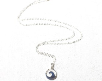 Ocean Wave Pendant Necklace, Ocean Wave Charm Necklace, Sterling Wave Necklace