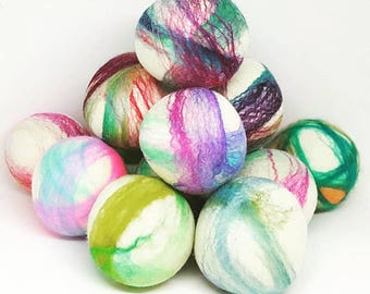 Wool Dryer Balls - 75 Large Color Swirl Wool Dryer Balls - Great For Cloth Diapers - Felt Dryer Balls - Wholesale - Co-op