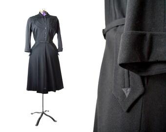 Black Shirt Dress 1940s Dress 1950s dress 40s dress black 50s dress wool dress vintage dress vintage clothing long sleeve small medium