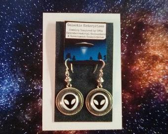 Alien Earrings with Sterling Ear Wires, Science Jewelry, UFO Jewelry, Sci Fi Earrings