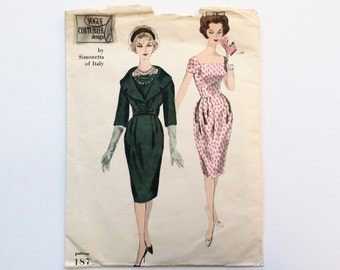 1950s B34 Dress & Jacket Sewing Pattern : Vogue Couturier 187 by Simonetta