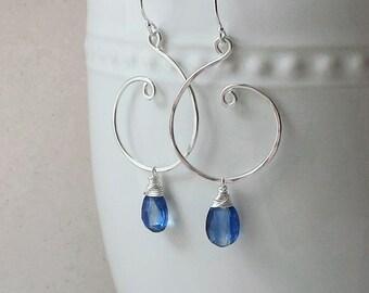 Blue Kyanite Earrings, Sterling Silver Earrings, Silver Swirl Kyanite Earrings, Kyanite Jewelry, Blue Kyanite Gemstone, Vivid Blue Kyanite