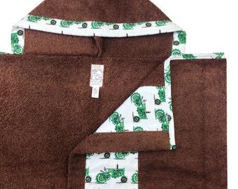 Tractors Hooded  Brown Towel Green Blue Brown