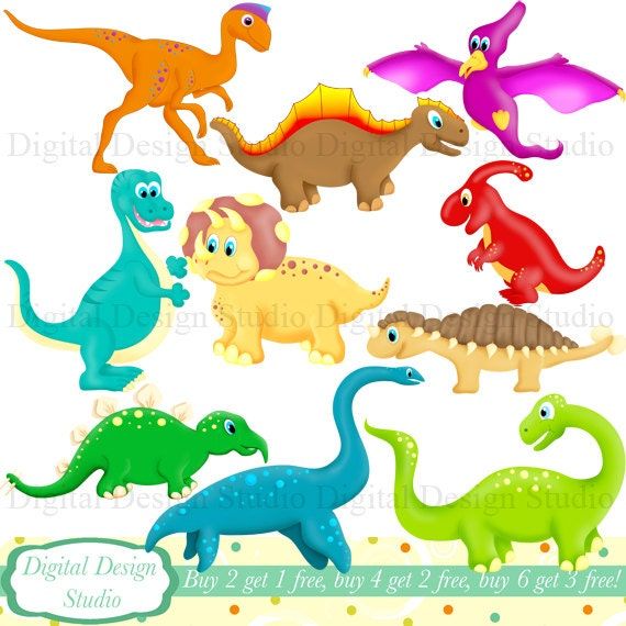 cute dinosaurs clip art set with free background instant download rh etsystudio com free dinosaur clip art for kids free dinosaur clip art black & white