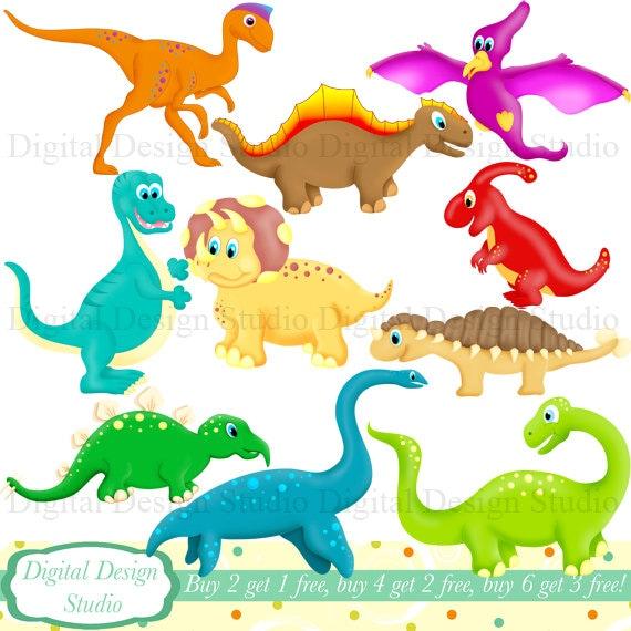 cute dinosaurs clip art set with free background instant rh etsy com free printable dinosaur clipart free dinosaur clipart for teachers