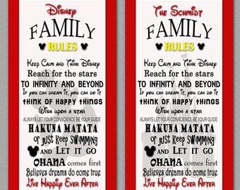 White Disney Family Rules print 10x20