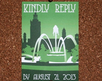 Digital File / Kansas City Plaza Wedding Invitation / Invite / Event RSVP Card