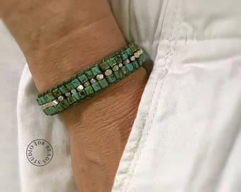 Bracelet, Bracelet de perles de Turquoise, bijoux Turquoise, Bracelet brésilien, Yoga Bracelet, cadeau pour femme, Bracelet Boho en perles turquoise