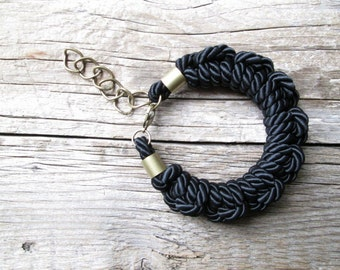 Black Rope bracelet Rope knot bracelet